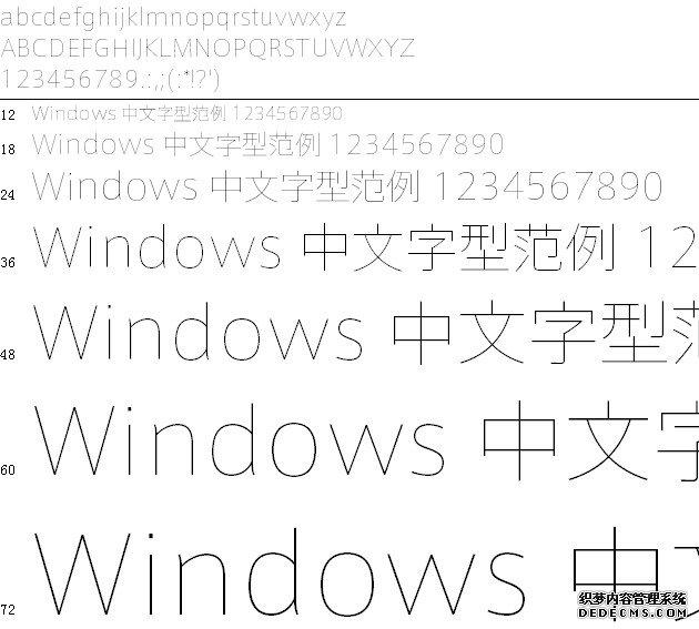 日系细线体字体预览图