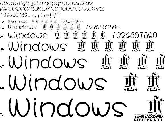 万花哥特体字体预览图