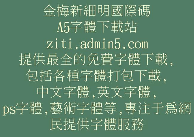 金梅新细明国际码字体预览图